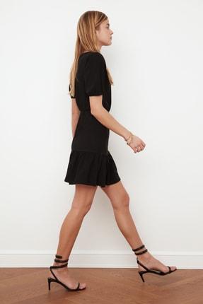 TRENDYOLMİLLA Siyah Asimetrik Yaka Örme Elbise TWOSS21EL0377 3