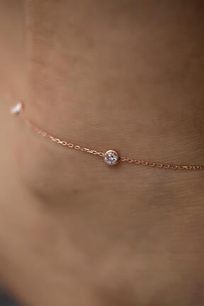 İzla Design Kadın Zirkon Taşlı Rose Kaplama Gümüş Halhal 1