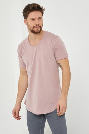 Tarz Cool Erkek Koyu Pudra Pis Yaka Salaş T-shirt-tcps001r58s 2