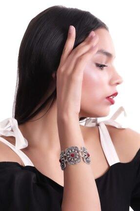 LABALABA Kadın Antik Gümüş Kaplama Kırmızı Boncuk Detaylı Bohem Kol Aksesuarı&Bileklik 2