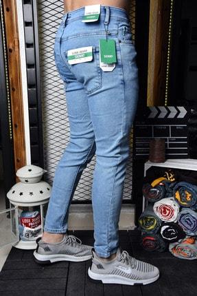 Lose Jeans Erkek Buz Mavi Skinny Fit Likralı Bilek Boy Jean 2