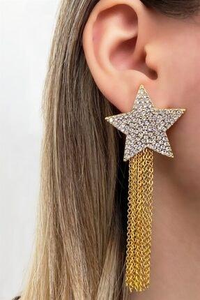 Takıştır Kadın Altın Rengi Yıldız Figürlü Zincir Detaylı Küpe 0