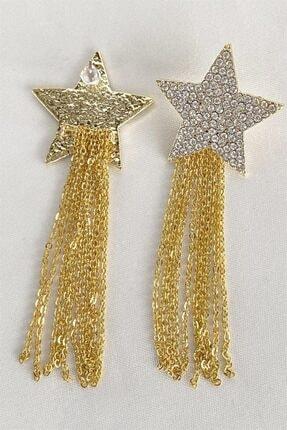 Takıştır Kadın Altın Rengi Yıldız Figürlü Zincir Detaylı Küpe 2