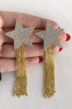 Takıştır Kadın Altın Rengi Yıldız Figürlü Zincir Detaylı Küpe 3