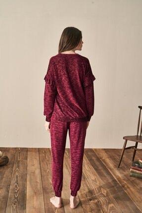 Feyza Kadın Bordo Pijama Takım 1