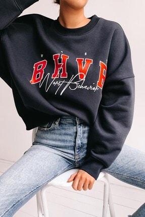 Madmext Kadın Mad Girls Lacivert Nakışlı Sweatshirt Mg813 1
