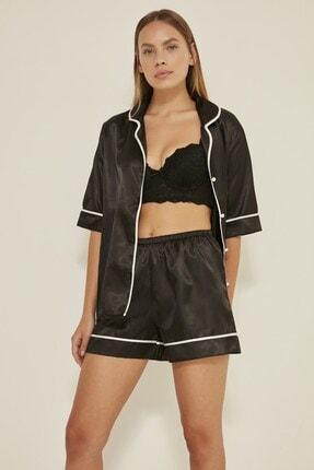 C&City Kadın Siyah Saten Kısa Kol Şortlu Pijama Takım  040 1
