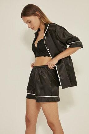 C&City Kadın Siyah Saten Kısa Kol Şortlu Pijama Takım  040 2