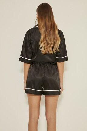 C&City Kadın Siyah Saten Kısa Kol Şortlu Pijama Takım  040 4