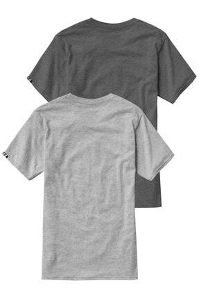 Sivugin Açık Ve Koyu Gri Pamuklu Yuvarlak Yaka Kısa Kol Erkek Spor T-shirt - 2'li Paket 1
