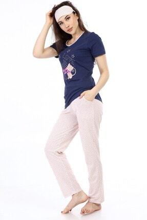 ModaPijama Manolya Kadın Lacivert Pamuklu Puantiyeli Kısa Kollu Pijama Takımı 0