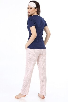 ModaPijama Manolya Kadın Lacivert Pamuklu Puantiyeli Kısa Kollu Pijama Takımı 4