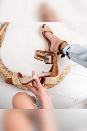 Limoya Kadın Taba Gerçek Hasır Alçak Topuklu Hasır Ökçeli Sandalet 1