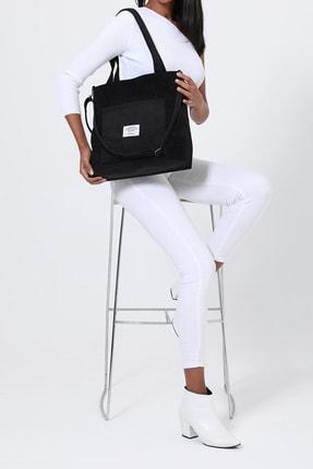 ModaAhsa Siyah Kadın Omuz Çantası Kumaş Astarlı 4