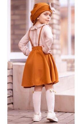 Riccotarz Kız Çocuk Beret Şapkalı Kiremit 4'lü Salopet Takım 1