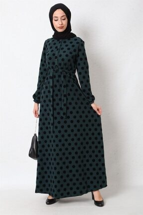 Puantiyeli Tesettür Elbise-zümrüt 21K3115900