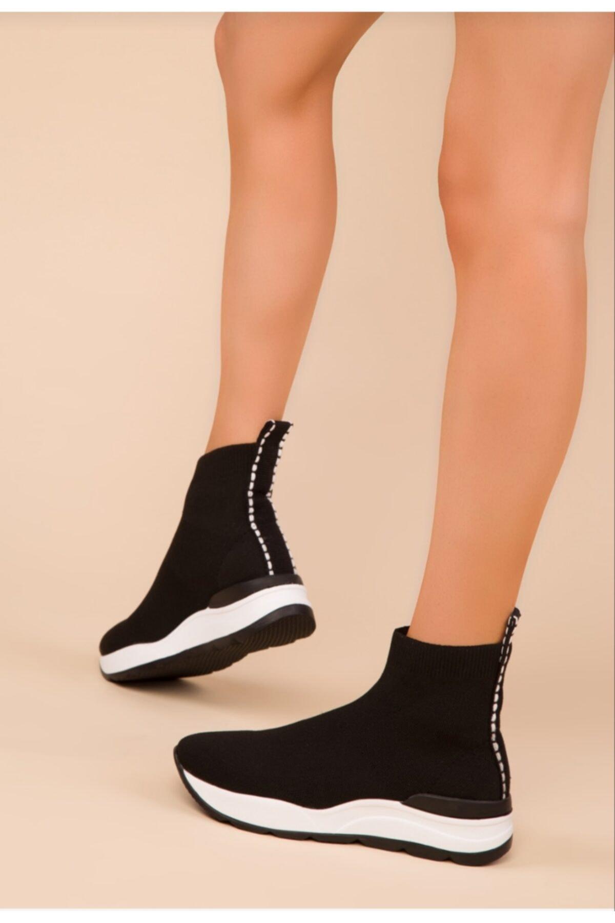 MİRKET Kadın Triko Streç Çorap Bot Sneaker Günlük Spor Ayakkabı