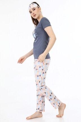 ModaPijama Manolya Kadın Gri Pamuklu Kısa Kollu Pijama Takımı 2