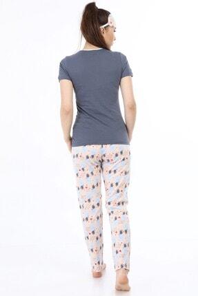 ModaPijama Manolya Kadın Gri Pamuklu Kısa Kollu Pijama Takımı 3