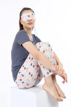 ModaPijama Manolya Kadın Gri Pamuklu Kısa Kollu Pijama Takımı 4