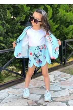 Riccotarz Kız Çocuk Blazer Ceketli Mavi Şortlu Takım 2