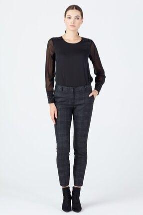 Ekol Kadın Siyah Simli Ekose Pantolon 3057 0
