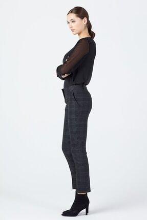 Ekol Kadın Siyah Simli Ekose Pantolon 3057 1