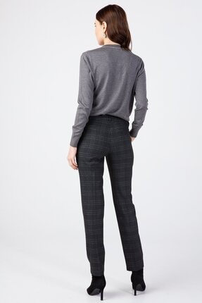 Ekol Kadın Siyah Simli Ekose Pantolon 3057 4