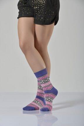 Idilfashion 4'lü Paket - Halı Desen Soket Çorabı - Mor B-art015 I4W015033911