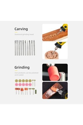 İBELTECH Pgs-2116 Kademe Devir Ayarlı Gravür Hobi Taşlama Seti Şaft Hediyeli Çantalı 211 Parça 3