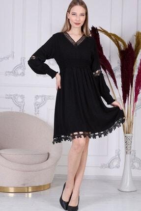 Dantel Detay Siyah Fisto Elbise ELBISEDELISI-0042