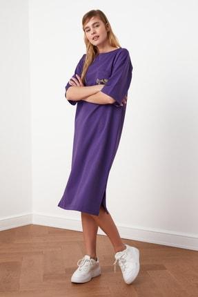 TRENDYOLMİLLA Mor Nakışlı Örme Elbise TWOSS21EL0175 3