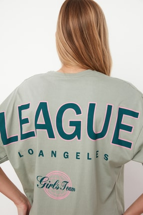 TRENDYOLMİLLA Mint Baskılı Oversize Örme T-Shirt TWOSS20TS0822 4