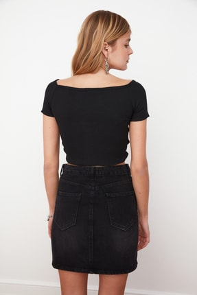 TRENDYOLMİLLA Siyah Büzgülü Örme Bluz TWOSS21BZ0409 4