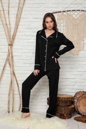 Miraten Kadın Siyah Düğmeli Uzun Kol Pamuklu Likralı Pijama Takım 3