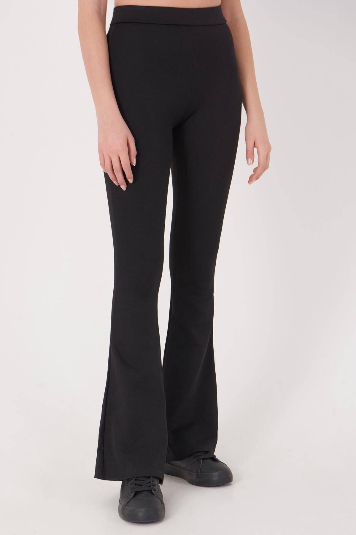 Addax Kadın Siyah İspanyol Paça Tayt Pantolon ADX-00012474 1