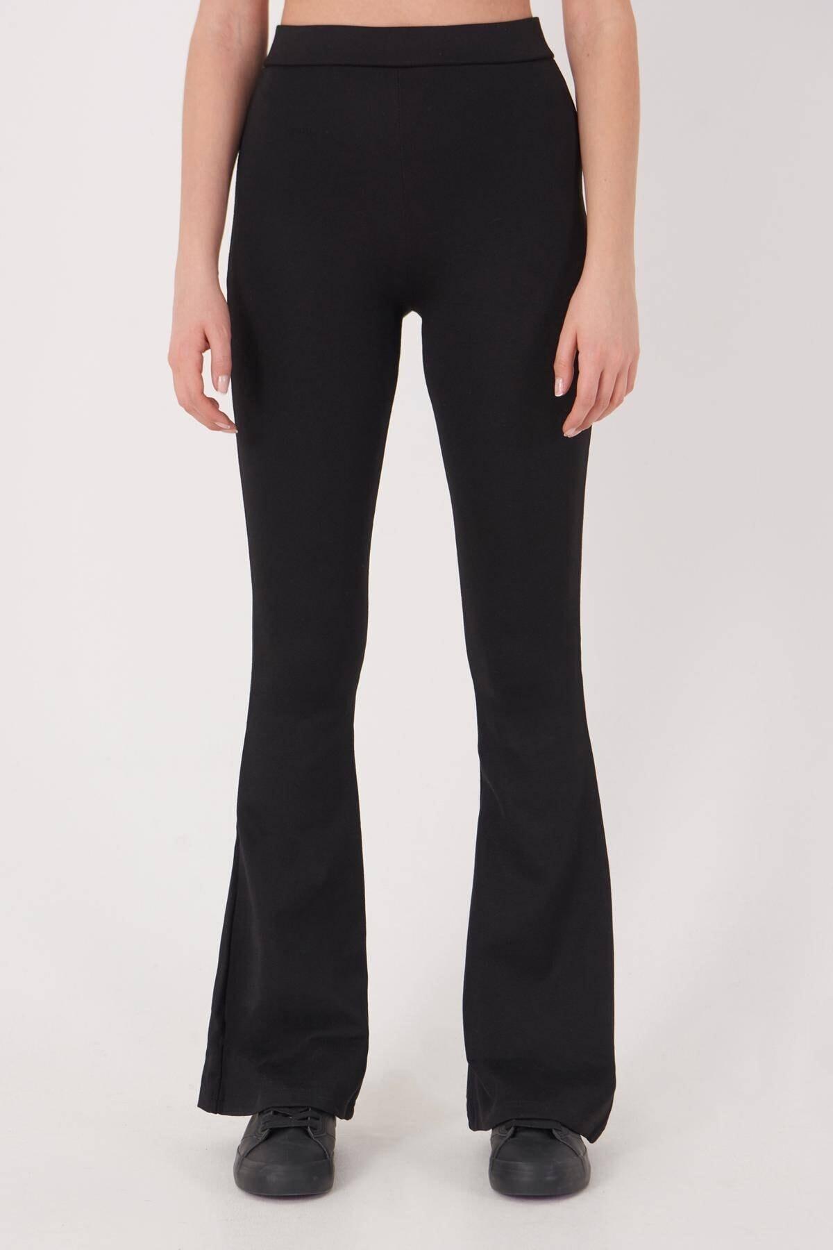 Addax Kadın Siyah İspanyol Paça Tayt Pantolon ADX-00012474 2