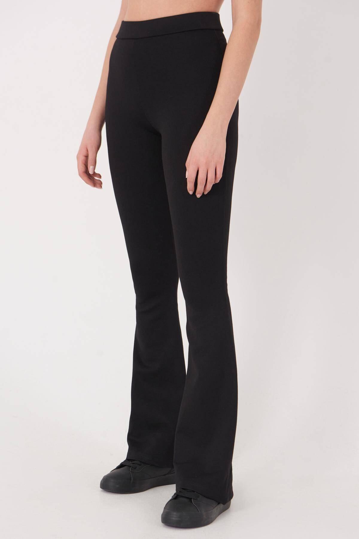Addax Kadın Siyah İspanyol Paça Tayt Pantolon ADX-00012474 3