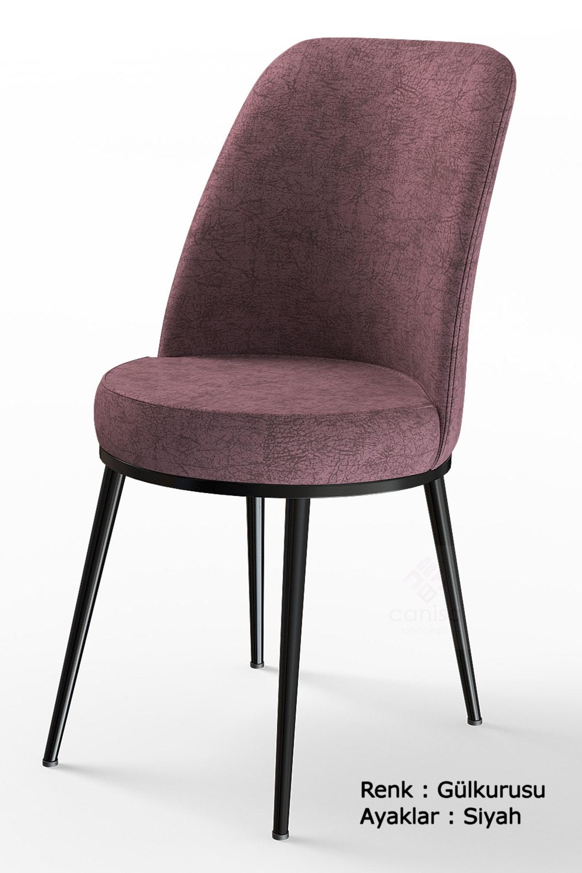Dexa Serisi Gülkurusu Renk Sandalye Mutfak Sandalyesi, Yemek Sandalyesi Ayaklar Siyah