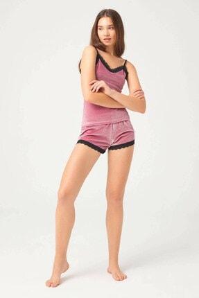 Cottonhill Kadın Pudra Dantel Detaylı Ince Askılı Kadife Atletli Şortlu Takım 0
