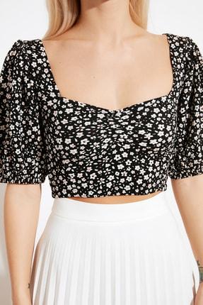 TRENDYOLMİLLA Siyah Crop Örme Bluz TWOSS21BZ0307 4