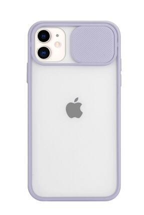 POFHİ Iphone 11 Kamera Slayt Korumalı Lila Şeffaf Telefon Kılıfı 0