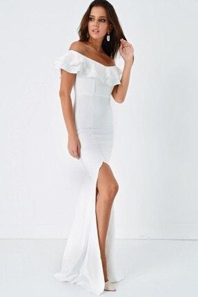 Modakapimda Fm Beyaz Volan Detaylı Yırtmaçlı Abiye Elbise 2