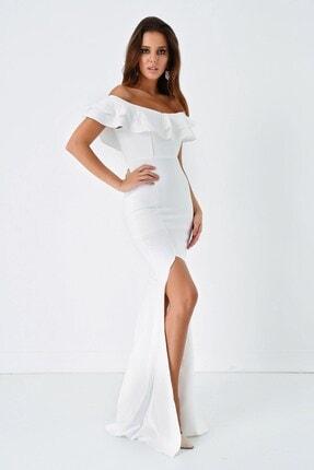 Modakapimda Fm Beyaz Volan Detaylı Yırtmaçlı Abiye Elbise 3
