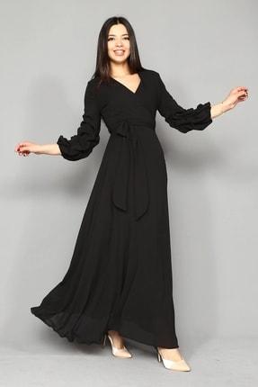 Modakapimda Siyah Kolları Büzgülü Uzun Büyük Beden Şifon Elbise 1