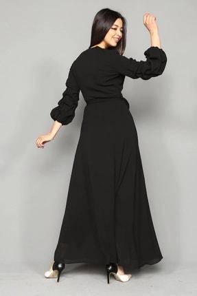 Modakapimda Siyah Kolları Büzgülü Uzun Büyük Beden Şifon Elbise 2