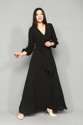 Modakapimda Siyah Kolları Büzgülü Uzun Büyük Beden Şifon Elbise 4