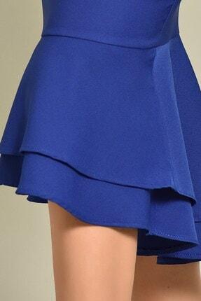 Modakapimda Saks Midi Boy Eteği Volanlı Elbise 4