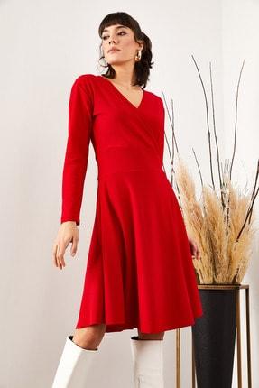 Olalook Kadın Kırmızı Kruvaze Elbise ELB-19000943 1