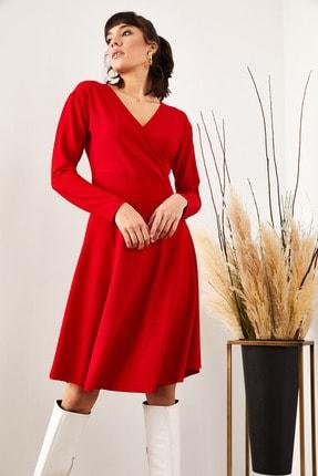 Olalook Kadın Kırmızı Kruvaze Elbise ELB-19000943 3